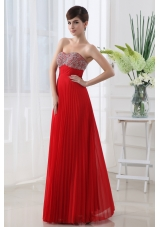 Backless Empire Sweetheart Beading Pleats Prom Dress in Red