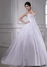 Exquisite A-line Beading and Appliques Chapel Train Wedding Dress with Strapless