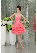 Strapless A-line Organza Watermelon Prom Dress with Ruffled Layers