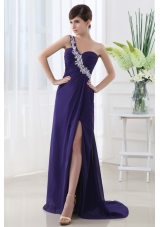 Empire Prom Dress with Ruchings and Beading One Shoulder High Slit Purple