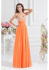 Empire Sweetheart Floor-length Beading Orange Prom Dress