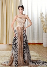 Modest Multi-color Strapless Prom Dress with Leopard Print