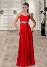 Red Straps Customize Empire Beaded New Style Prom Dress