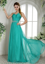 One Shoulder Turquoise Chiffon Brush Train Prom Dress With Ruching and Beading