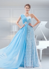 Suitable Empire Brush Train Baby Blue One Shoulder Beading Prom Dress