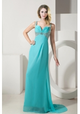 Turquoise Column Straps Brush Train Chiffon Beading Prom Dress