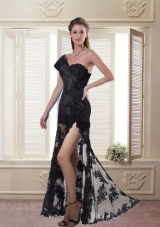 Black Sheath One Shoulder Prom Dress with Beading and High Slit