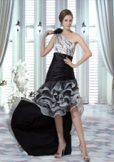 High Low One Shoulder Prom Dresses with Beading and Ruffled Layers