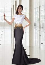 Mermaid Bateau Exclusive Prom Dress with Gold Beading