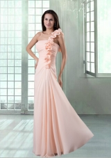 Peach One Shoulder Floor Length Prom Dress with Hand Made Flowers
