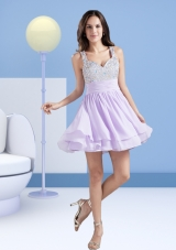 Perfect A Line Straps Short Lavender Prom Dress with Beading