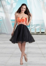 Cute Short Sweetheart Appliques Mini Length Prom Dress