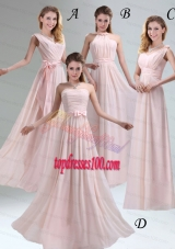 Most Beautiful Chiffon Light Pink Empire Bridesmaid Dress with Ruching