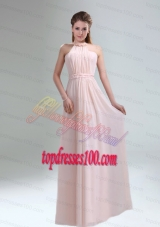 Romantic 2015 High Neck Chiffon Light Pink Bridesmaid Dress