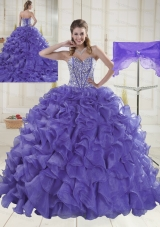 Sweet Sweetheart Brush Train Lavender Quinceanera Dresses in Sweet 16