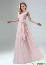 Fashionable Belt Ruching Chiffon Prom Dress with Bowknot
