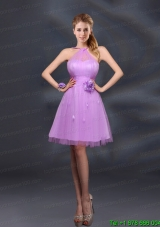Pretty Halter A Line Prom Dresses with Hand Made Flowers