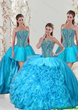 Detachable Aqua Blue Quinceanera Dress Skirts with Beading and Ruffles for 2015
