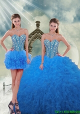 Luxurious Aqua Blue Sweet 16 Dresses with Beading and Ruffles
