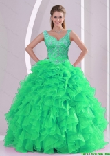 2015 Pretty Spring Green Quinceanera Dresses with Beading and Ruffles