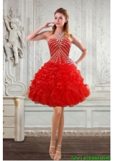 2015 New Style Sweetheart Prom Dresses with Beading and Ruffles