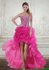 2015 Hot Pink High Low Sweetheart Prom Dresses with Beading and Ruffled