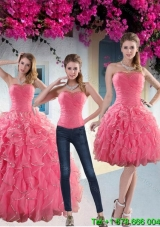 Custom Made Paillette Quince Dresses with Strapless for 2015