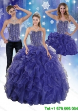 The Super Hot Beading and Ruffles Quince Dresses in Royal Bule