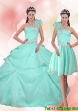 2015 New Arrival Puffy Apple Green Quinceanera Dress with Appliques
