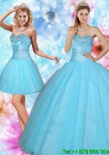 2015 Puffy Discount Sweetheart Beaded Quinceanera Dress in Baby Blue