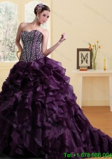 2015 Puffy Elegant Sweetheart Burgundy Quinceanera Dress with Ruffles and Beading