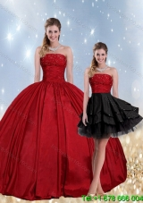 2015 Puffy Strapless Beaded Quinceanera Dress in Red and Black