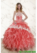 2015 Puffy Watermelon Strapless Quince Dresses with Appliques and Ruffles