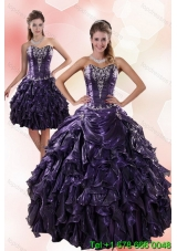 Classic Sweetheart Ruffled 2015 Puffy Quinceanera Dresses with Embroidery