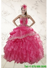 Puffy Beautiful Ruffles and Appliques Quince Dresses in Hot Pink