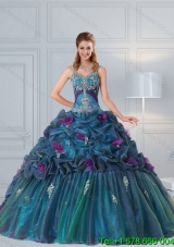 Puffy Cute Multi Color Quinceanera Gown with Hand Made Flower and Pick Ups