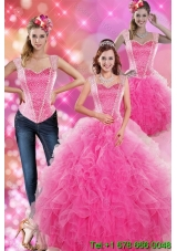 Puffy Decent Hot Pink 2015 Quinceanera Gown with Beading and Ruffles