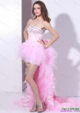 Baby Pink Ruffled One Shoulder Prom Dresses with Hand Made Flower and Beading