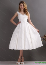 2015 Top Selling Beaded Ruched  Wedding Dresses in White