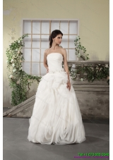 Top Selling Ruffled Strapless White Wedding Dresses with Brush Train