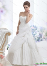 Top Selling Strapless Ruffles and Beading White Bridal Gowns for 2015
