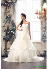 Top Selling Sweetheart White Bridal Gowns with Chapel Train