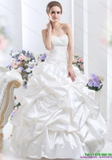 Top Selling White Brush Train Bridal Dresses with Pick Ups and Sequins