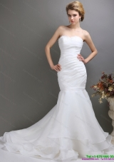 Sturning 2015 Strapless Mermaid Wedding Dress with Brush Train
