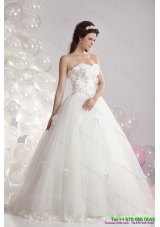 2015 Perfect White Strapless Bridal Dresses with Beading and Hand Made Flowers