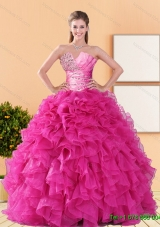 2015 New Style Beading and Ruffles Quinceanera Dresses in Hot Pink