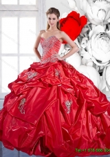Pretty Pick Ups and Appliques 2015 Red Sweet 15 Dresses with Brush Train