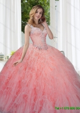 New Style Watermelon Quinceanera Dresses with Beading and Ruffles