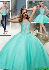 2015 Pretty Sweet 15 Dresses Sweetheart Quinceanera Dresses with Beading in Aqua Blue for Summer