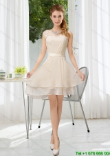 Elegant Bateau Belt Mini Length Dama Dress with Lace Up